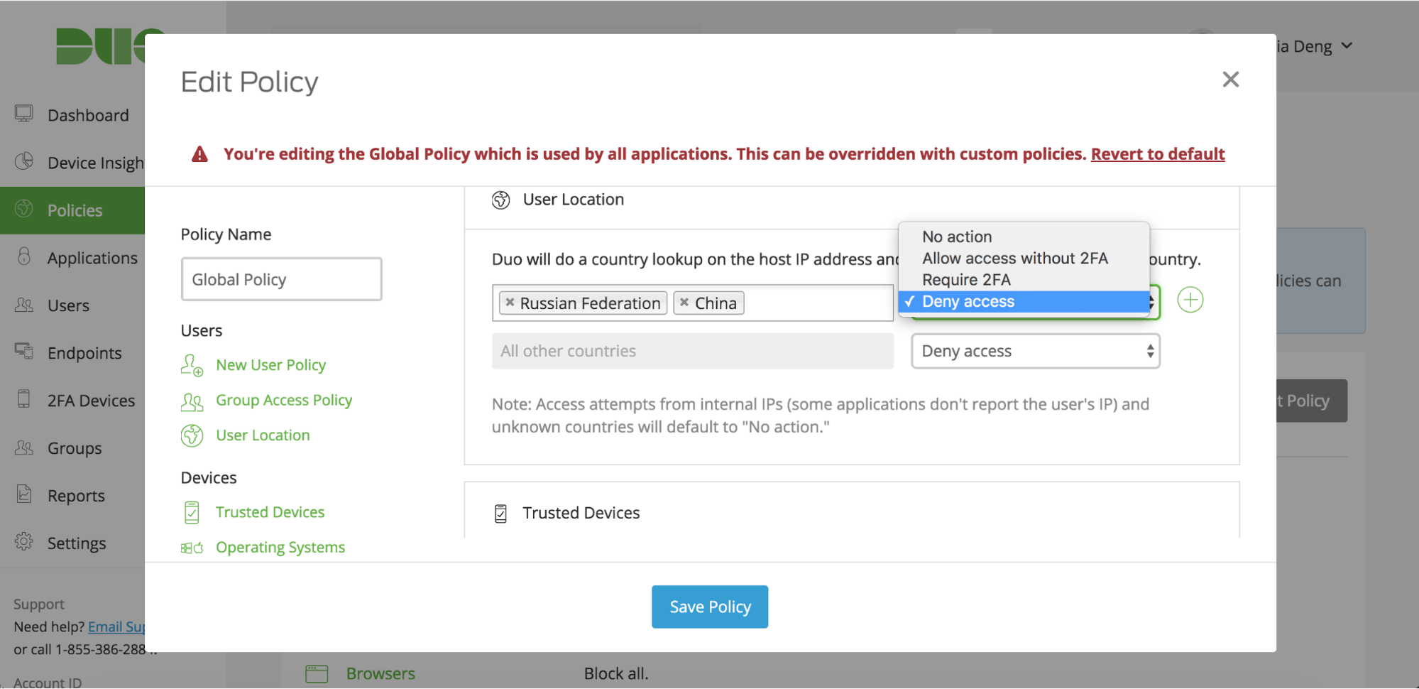 User Location Policy
