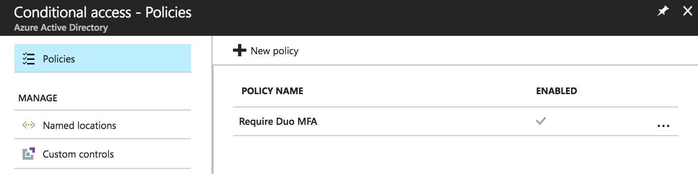 Duo Azure CA Policy Created and Enabled
