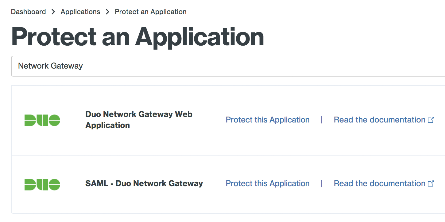 Duo Network Gateway Applications