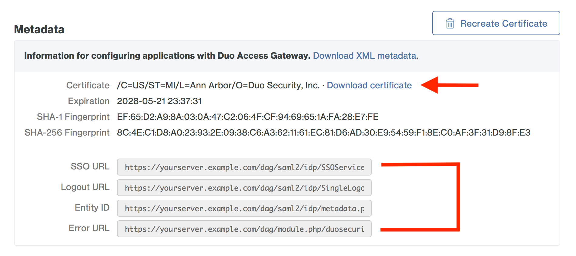 Duo Access Gateway Metadata Information