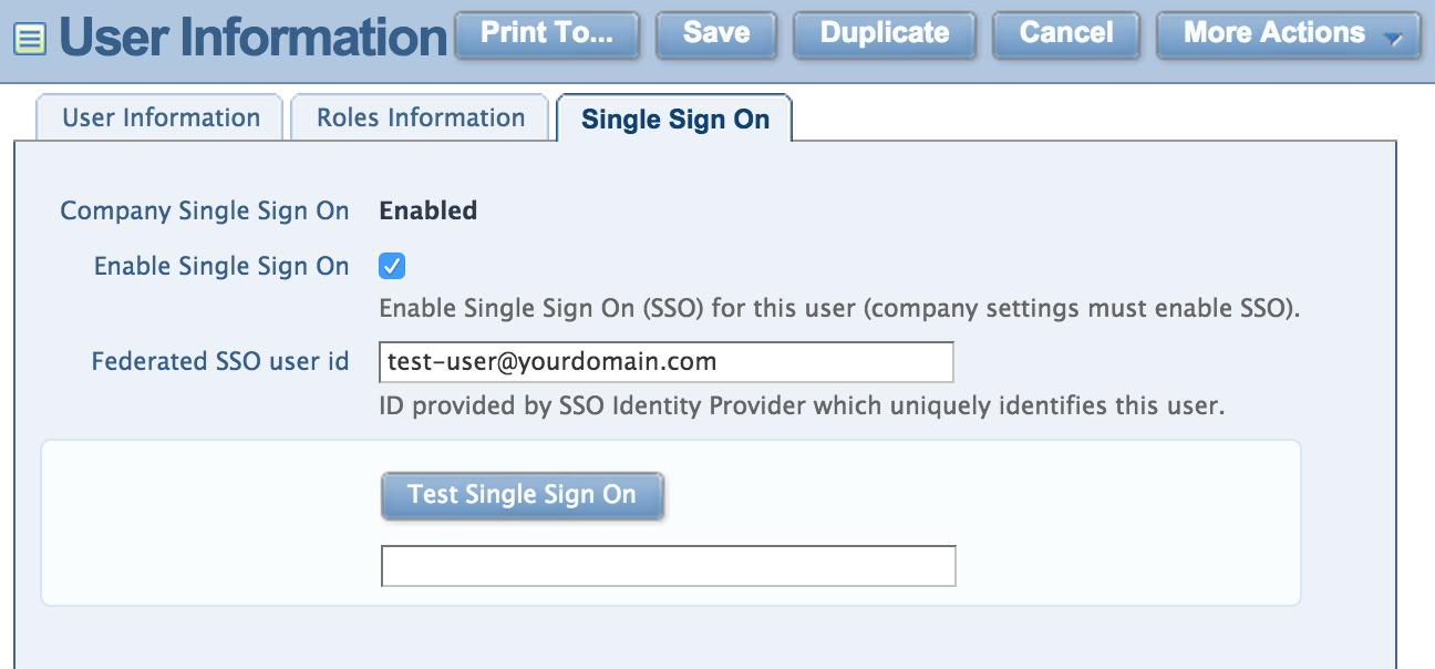 Intacct Single Sign-On User Settings