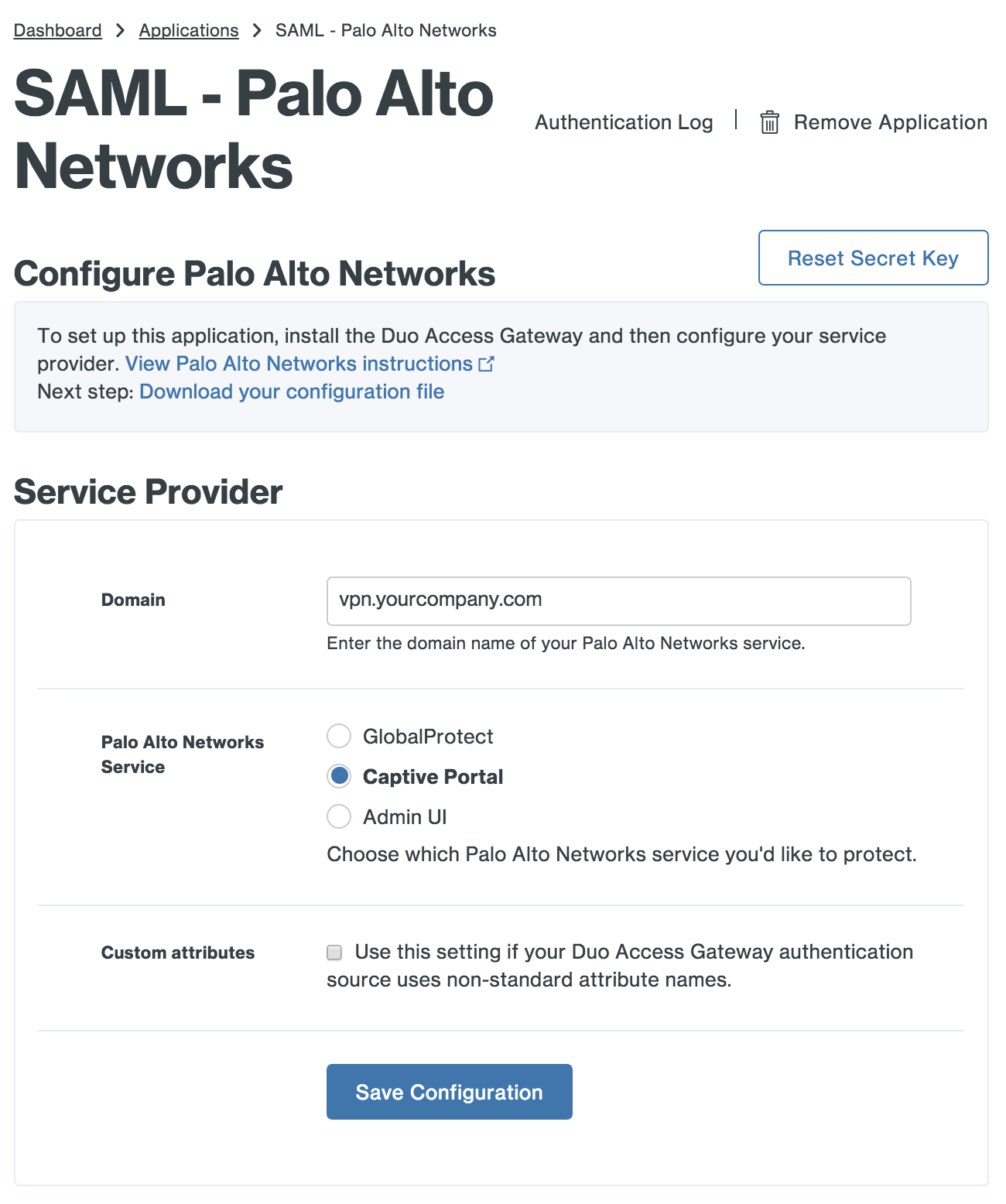 Duo Palo Alto Networks Application Settings
