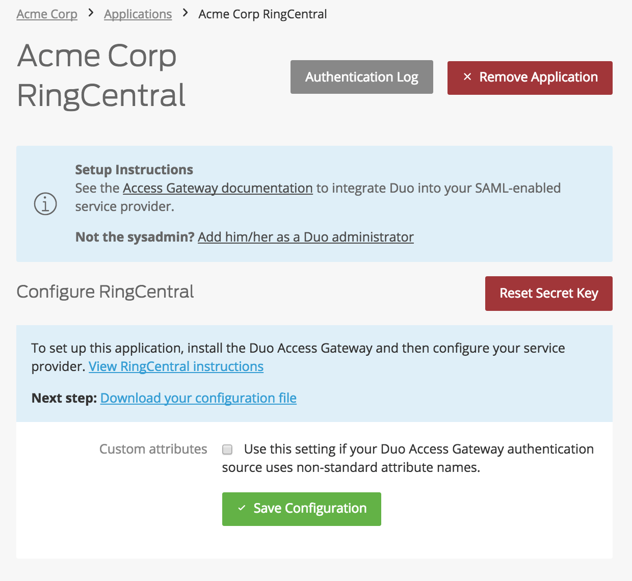 Duo RingCentral Application Settings
