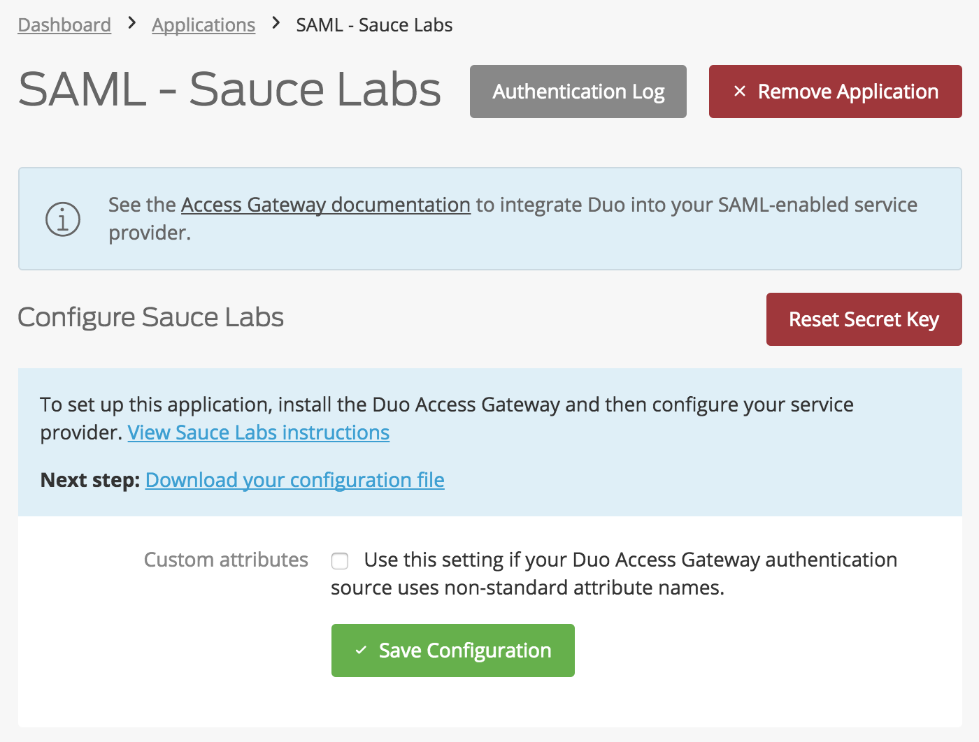 Duo Sauce Labs Application Settings