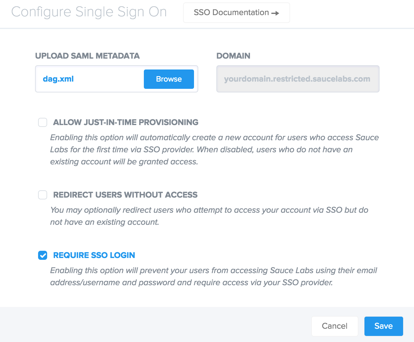 Sauce Labs Single Sign-On Setting Edit