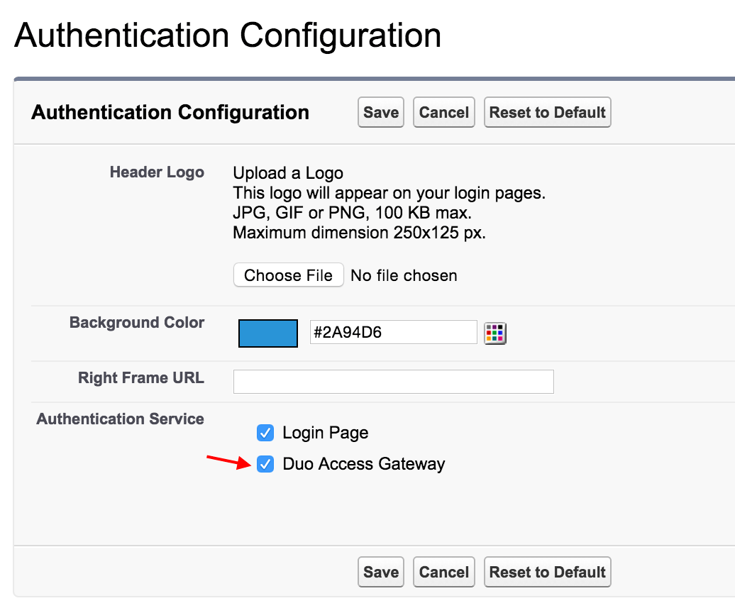 Salesforce Domain Authentication Settings