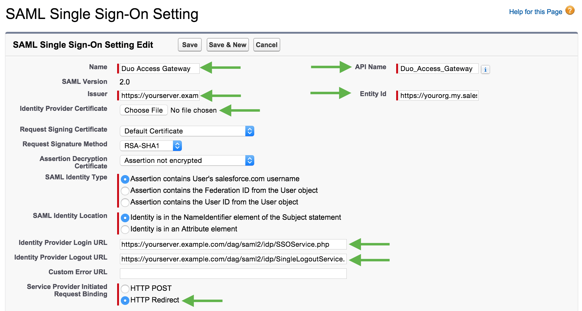 Salesforce Single Sign-On Setting Edit