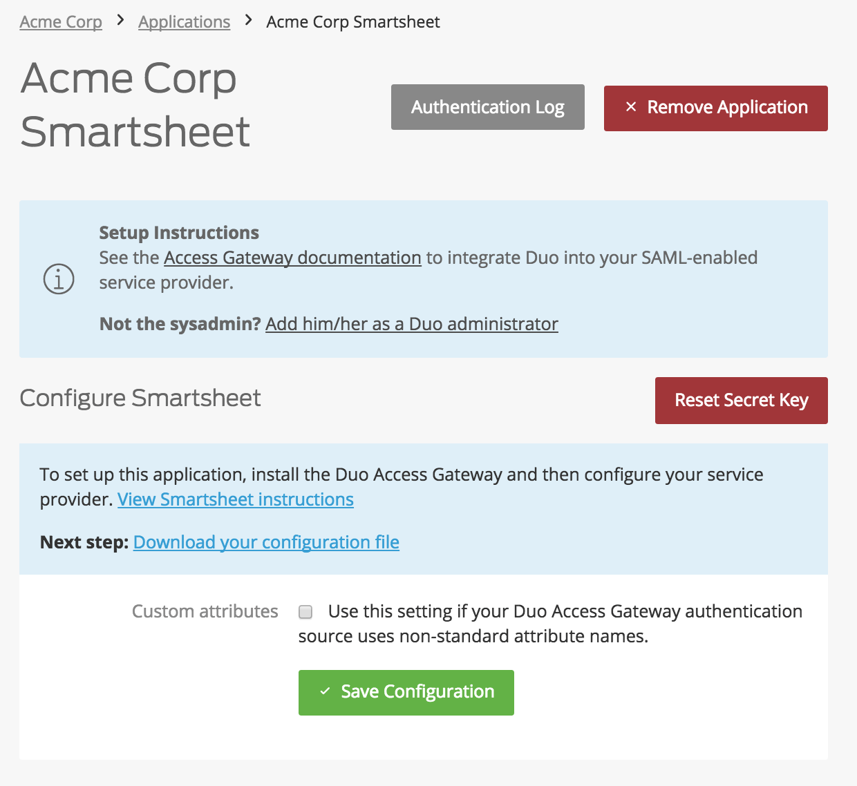 Duo Smartsheet Application Settings