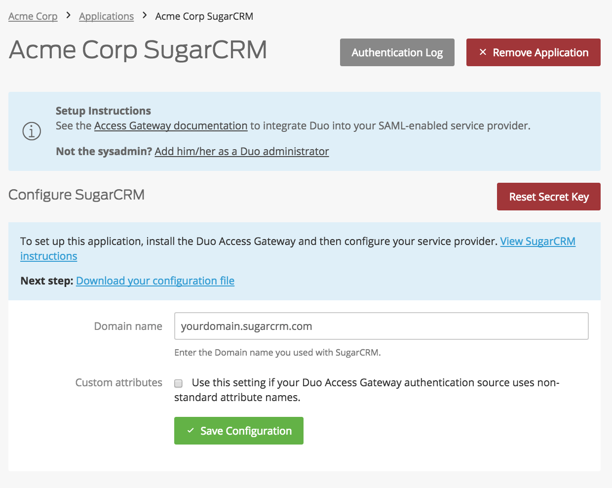 Duo SugarCRM Application Settings