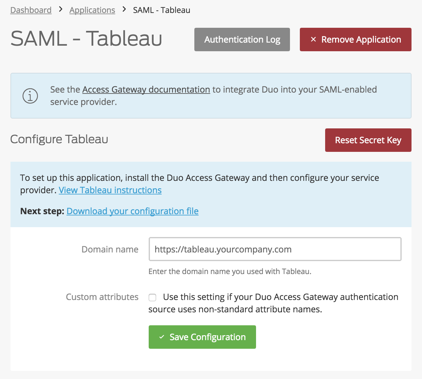 Duo Tableau Application Settings