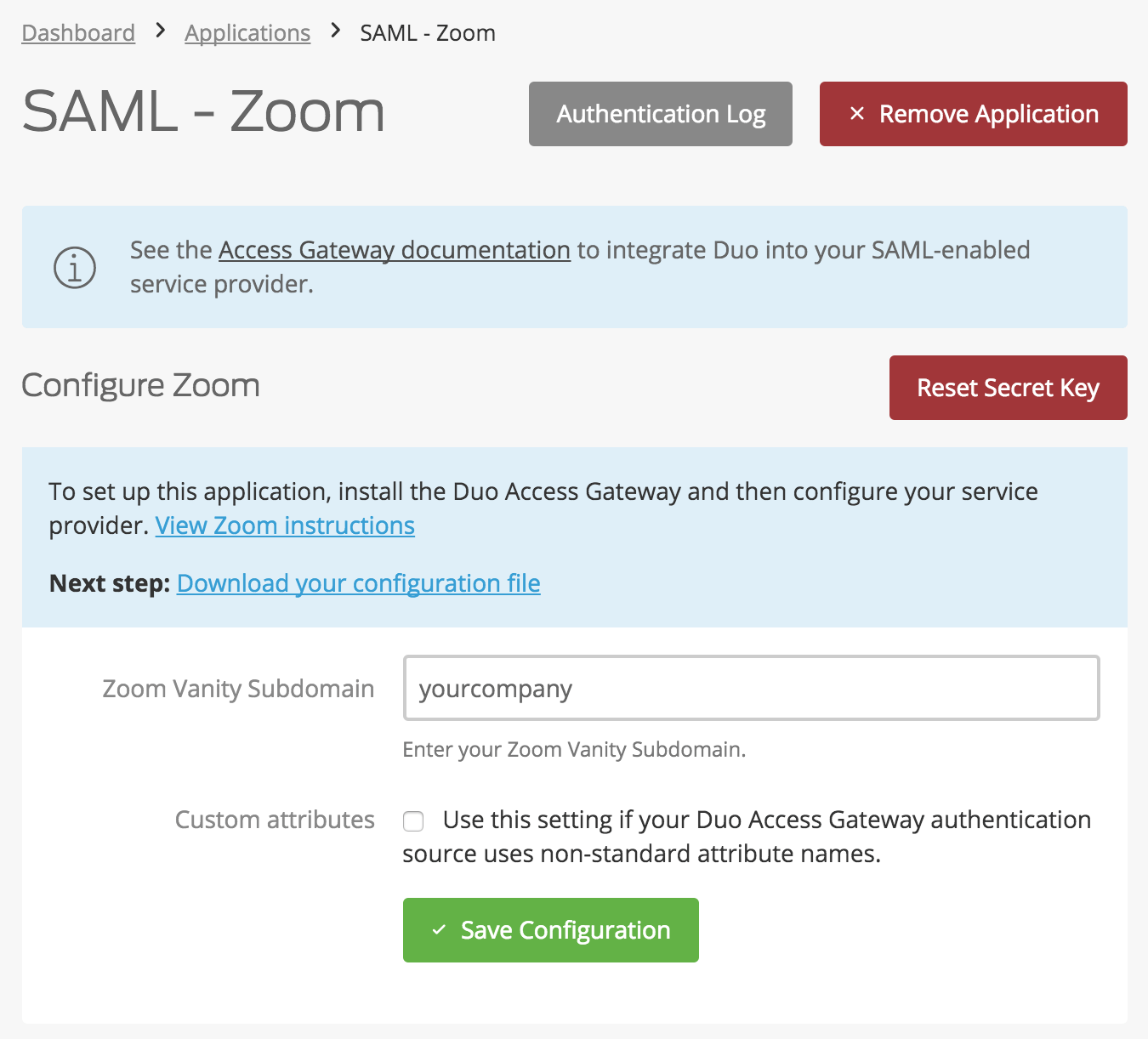 Duo Zoom Application Settings