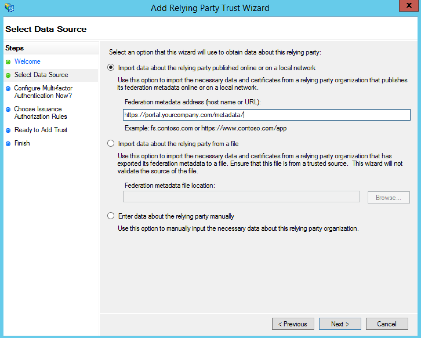 Configure AD FS Data Source