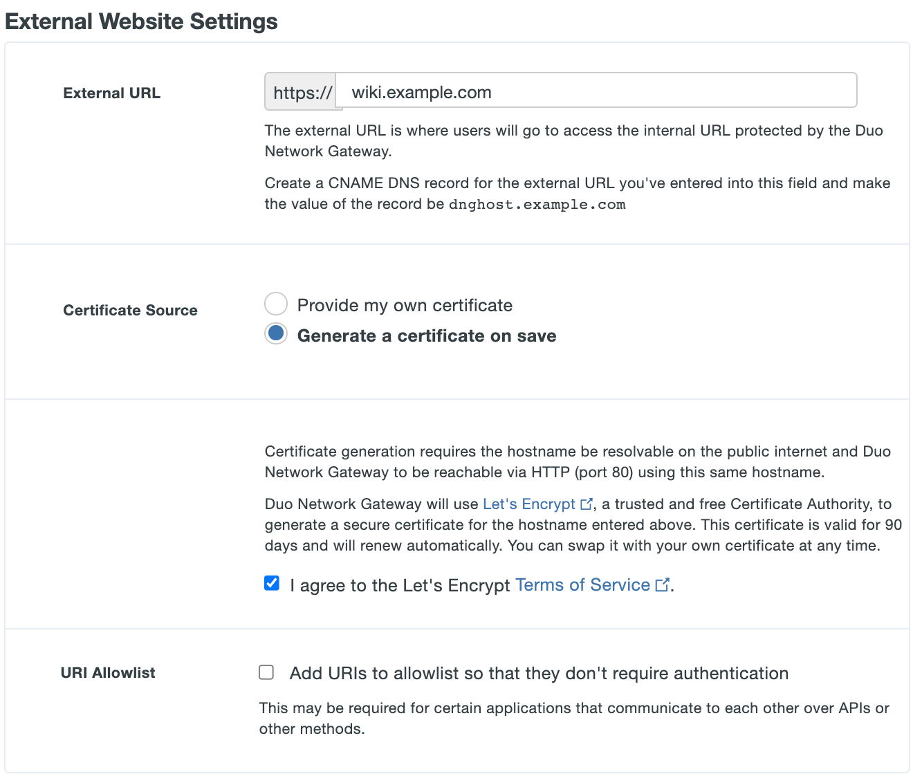 Configure external settings for Duo Network Gateway application with Let's Encrypt