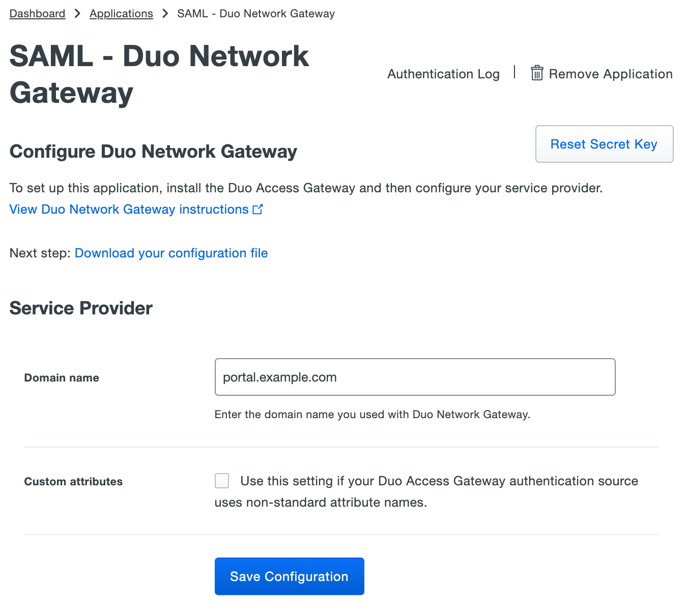 Duo Network Gateway Application Settings