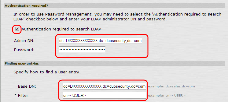 Authentication User Entries
