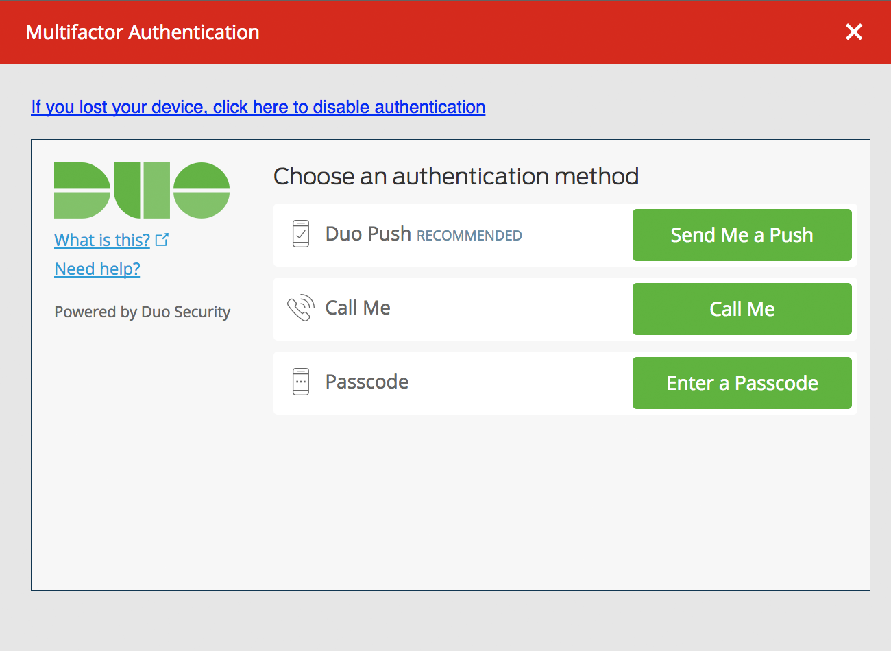 LastPass Browser Duo Authentication
