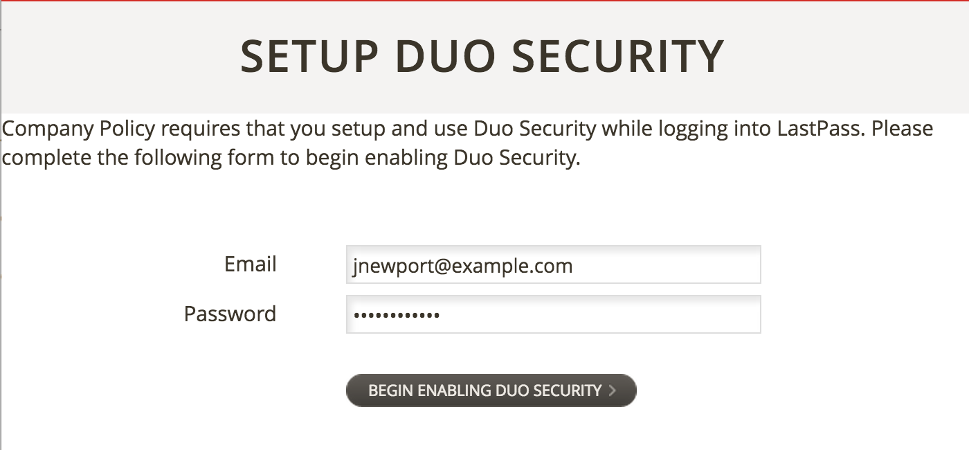 LastPass Enable Duo