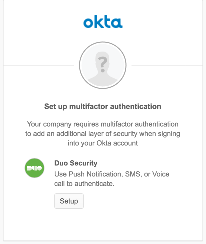 Okta User Duo Setup