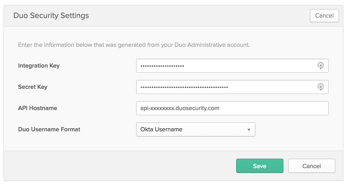 Enter Okta Duo Application Information