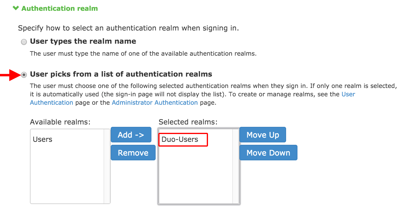 Authentication Realm Config