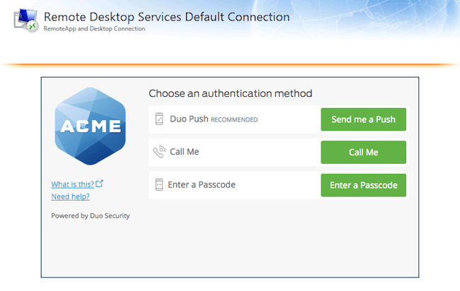 RD Web Duo Authentication Prompt