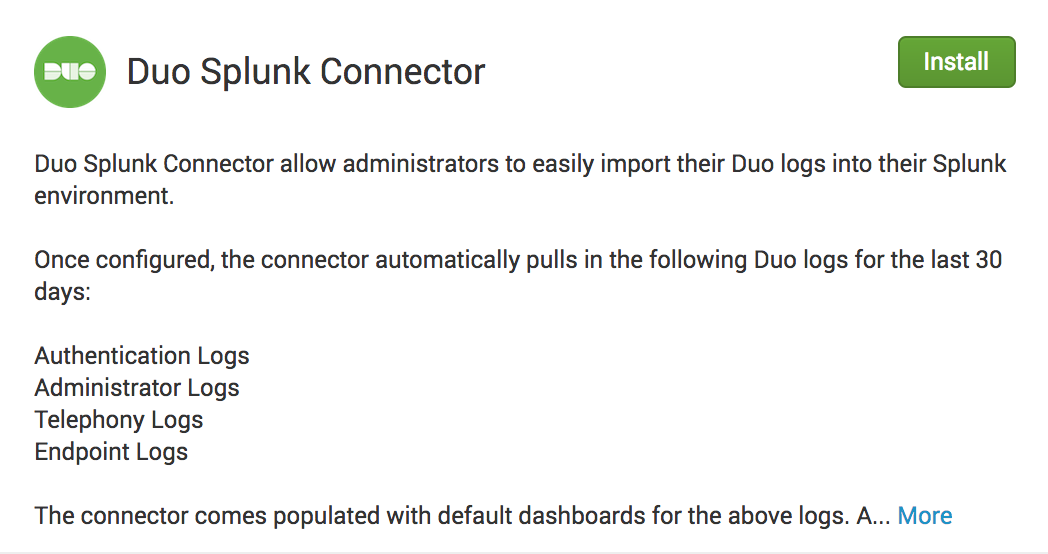 Search Splunkbase for Duo Splunk Connector app
