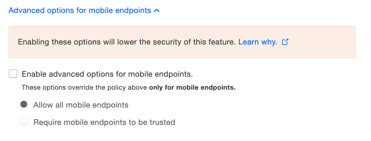 Trusted Endpoints Mobile Policy Options