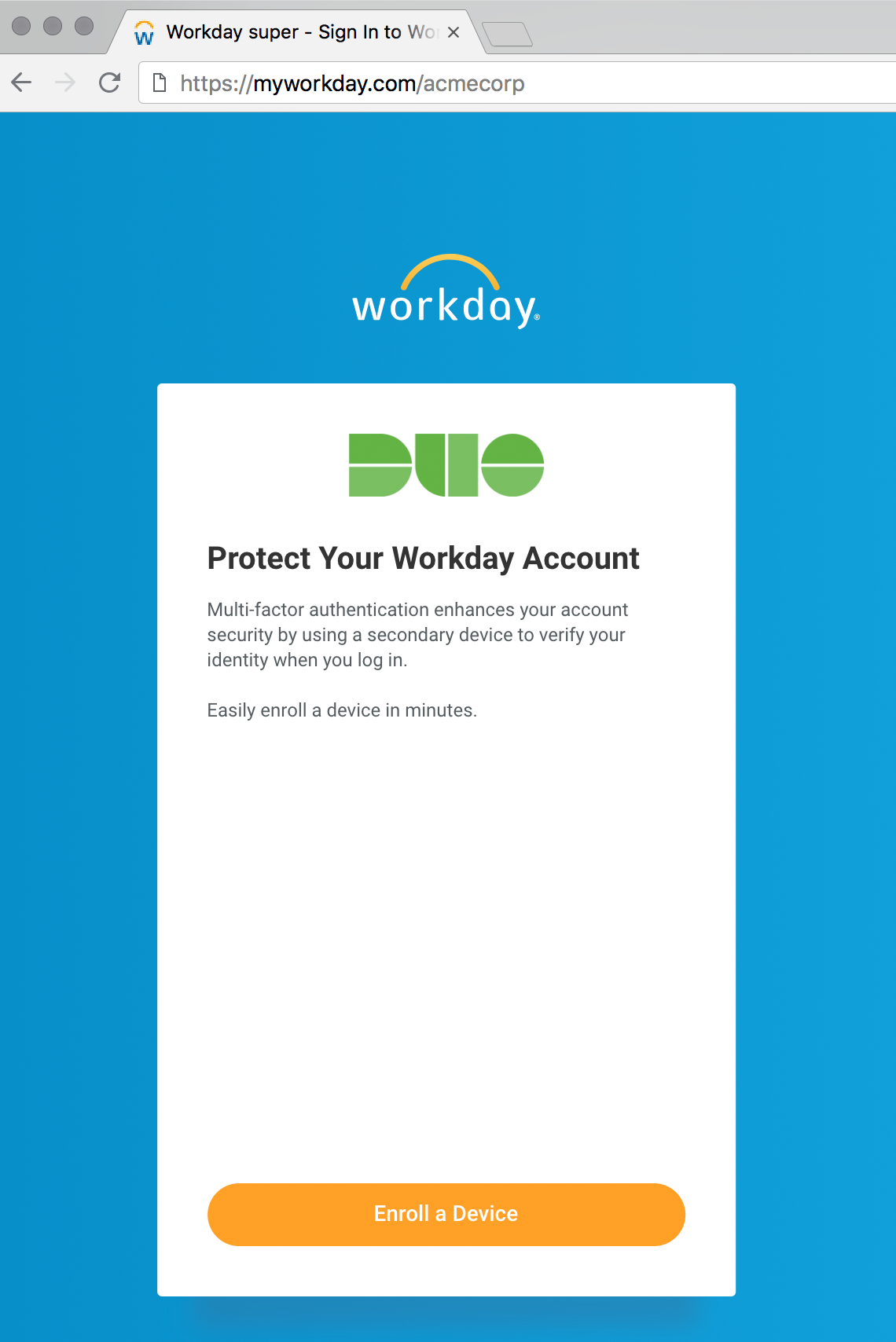 Duo Enrollment in Workday