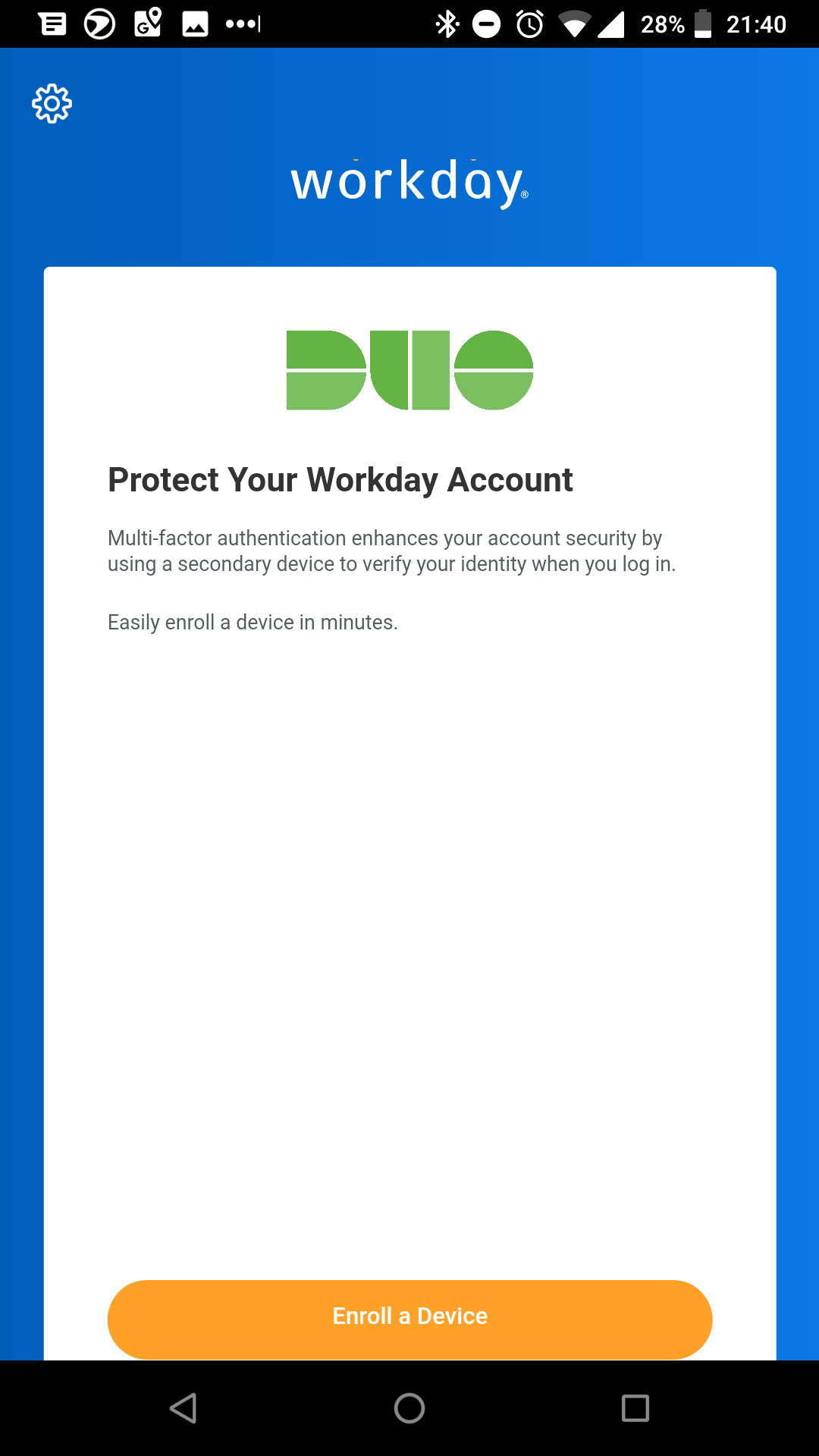 Duo Enrollment in Workday Mobile App