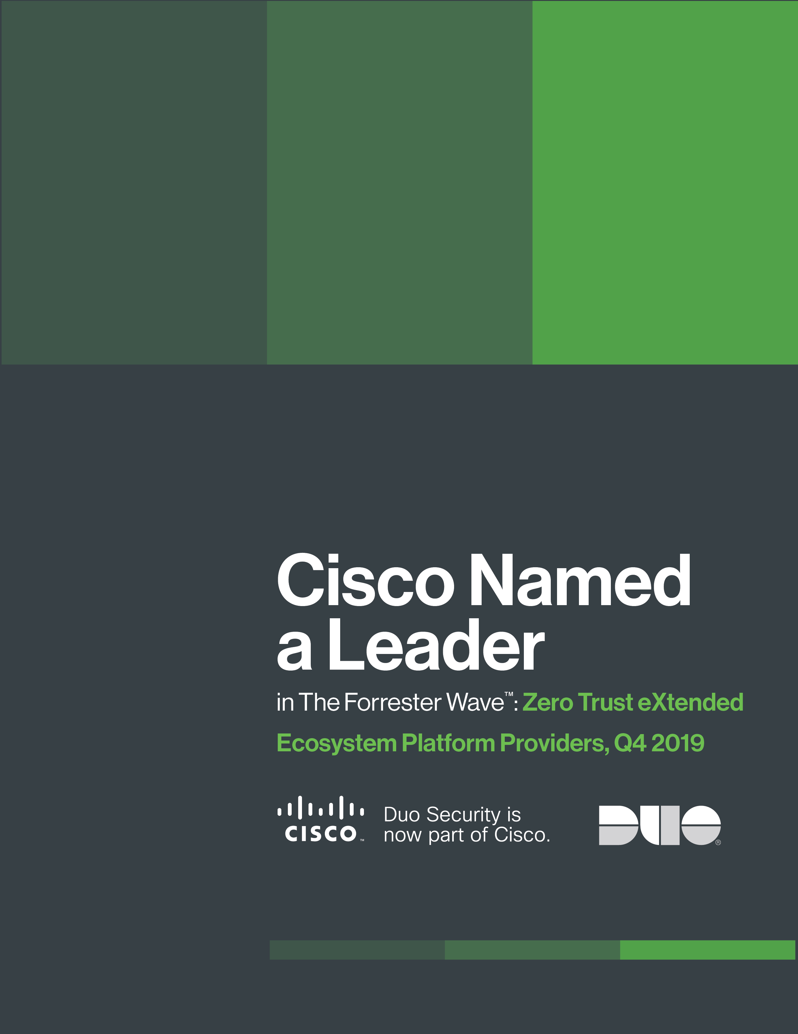Cover of Cisco Named a Leader in The Forrester Wave™: Zero Trust eXtended Ecosystem Platform Providers, Q4 2019 Report eBook